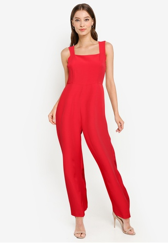 ZALORA WORK red Square Neck Wide Leg Jumpsuit 7AFD0AA02DDC9BGS_1