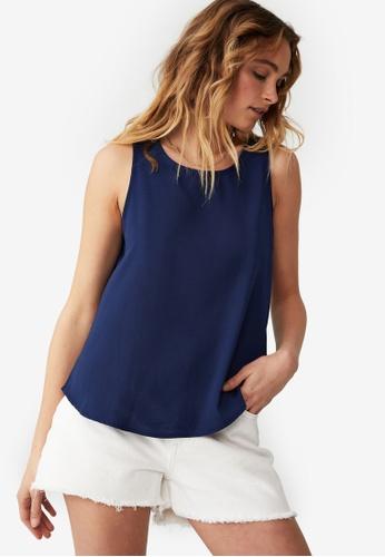 Cotton On blue Emma Petite Tank Top 6269FAAD4E1BFFGS_1