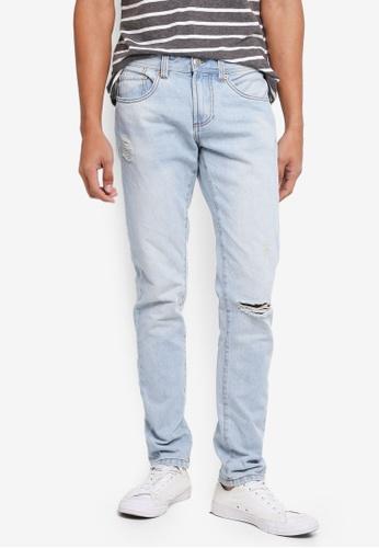 OVS 藍色 修身刷破牛仔褲 2EC74AA752DB9EGS_1