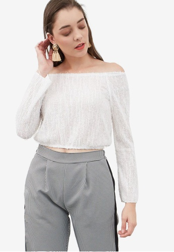 Berrybenka white Moza Off Shoulder Jumper 56F50AA2E1FB64GS_1
