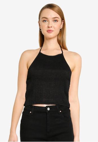 Cotton On 黑色 Daisy 褶飾削肩細肩帶上衣 A0C9FAA5712F8AGS_1
