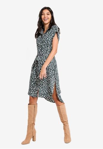 ZALORA green Fit and Flare Shirt Dress C7662AA0900E3EGS_1
