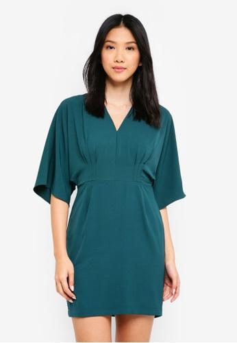 ZALORA green Kimono Sleeve Dress 30991AA52A36FDGS_1