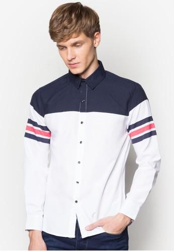 條紋拼色長袖襯衫, 服飾adl esprit, 印花襯衫