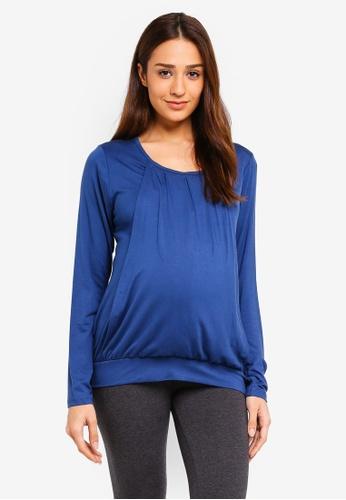 JoJo Maman Bébé 藍色 孕婦裝 哺乳上衣 94051AA4E1A8A7GS_1