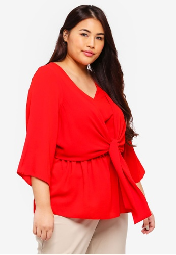 2181ff052e24eb Dorothy Perkins red Plus Size Red Manipulated Tie Top D3C55AA477574AGS 1