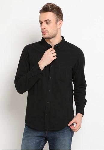 TIRAJEANS black Brush Twill Shirt 5D6F8AA57040C2GS_1