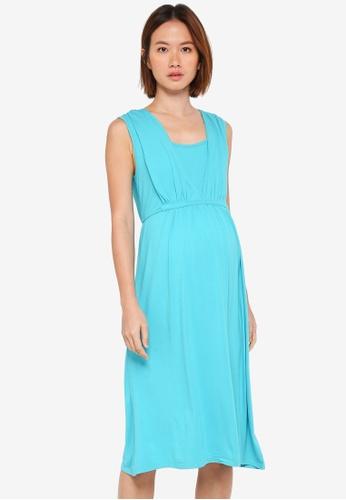 Spring Maternity white Maternity Knitted Bettina Midi Dress A6407AA474753BGS_1