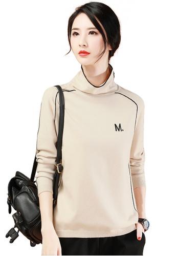 A-IN GIRLS black and beige Simple Turtleneck Letter Sweater F385DAA2C59BBEGS_1