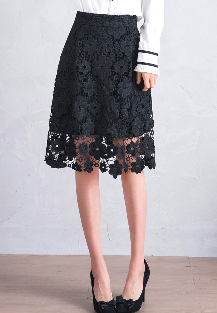 Sunnydaysweety Black Hollow Temperament A042301BK High Lace New Skirt Waist 2018 zrqZaz