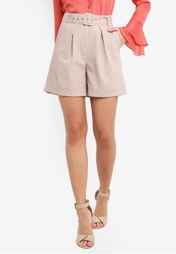 FORCAST pink Liliana Buckle Waist Shorts BCFAEAA13AADB8GS_1