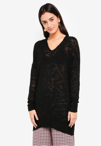 Sisley black V Neck Long Sweater DD547AA6AFC041GS_1