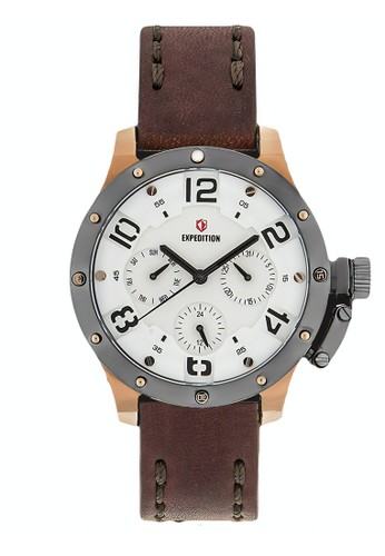 Expedition brown Expedition Jam Tangan - Brown Grey Rosegold - Leather Strap - 6381 BFLRGSLBA 9FBC6AC243F628GS_1