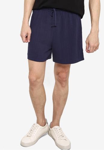 ZALORA BASICS navy Drawstring Linen shorts 44BC6AAB411281GS_1