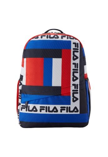 FILA blue FILA KIDS FILA Logo Colour Blocks Backpacks 9A737KCA0C9AEBGS_1