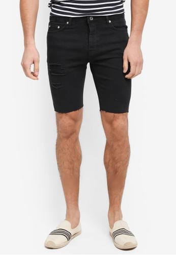 Topman black Raw Ripped Shorts 93BE7AAEAC331FGS_1