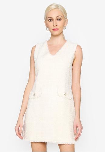 Hopeshow beige V-Neck Linen Stitch Sleeveless Mini Dress E7C86AA6B16000GS_1