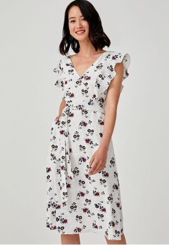 Love, Bonito white Eliza Sash Tie Ruffle Sleeve Dress AC703AA21A4728GS_1