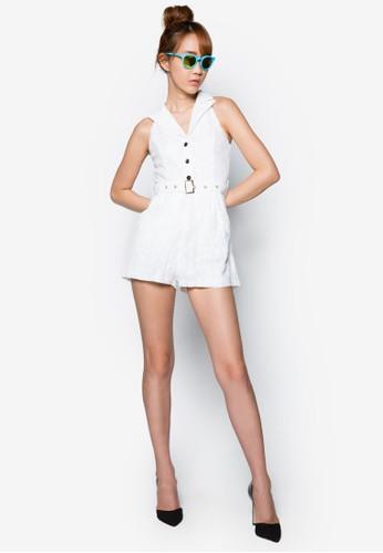 削肩鏤空腰飾連身褲esprit outlet 台灣, 服飾, 服飾