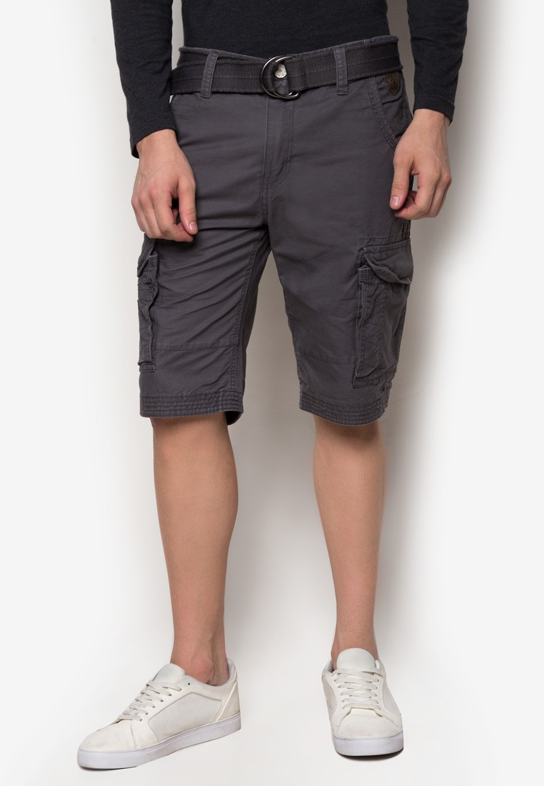 Colored Cargo Shorts with Belt