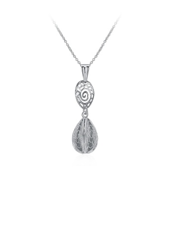 Glamorousky silver Fashion Classic Hollow Water Drop Shape Pendant with Necklace 6440EAC5B4113EGS_1