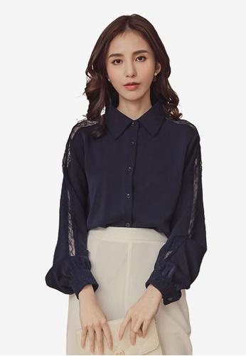 Kodz navy Lapel Collar Long Sleeve Button Down Shirt CB922AAD02A031GS_1