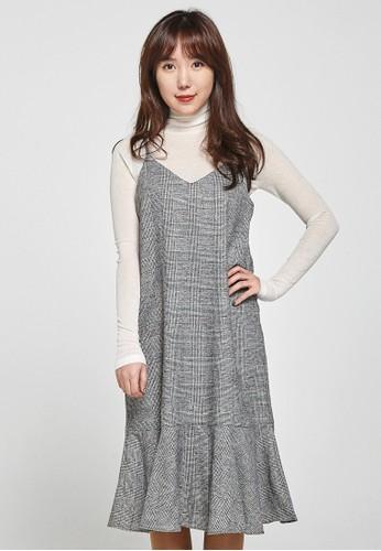 韓流時尚 格子魚尾裙 F4054esprit 高雄, 服飾, 洋裝