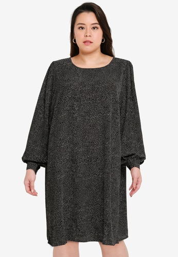 Only CARMAKOMA black Plus Size Fix Long Sleeve Knee Dress F4CF6AA6484723GS_1