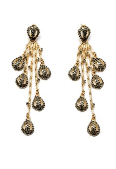 Gun Metal Crystal Pave Drops Earrings