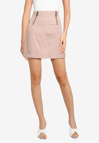 Heather brown Plain Mini Skirt 4ED45AAE8472D1GS_1