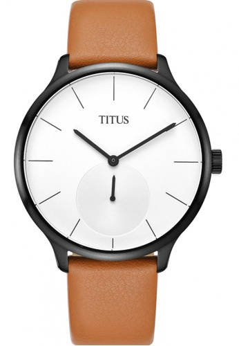 Solvil et Titus black and white and brown Unisex Analogue Quartz Watch in White Dial and Brown Leather Strap SO598AC0GNPYSG_1