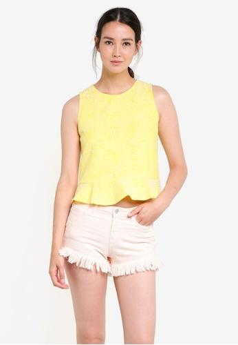 Mango yellow Textured Crop Top MA193AA65ECGMY_1