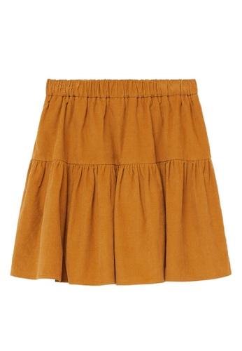 MANGO KIDS yellow Corduroy Skirt 18818KAAF62172GS_1