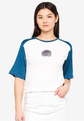 Something Borrowed white Contrast Sleeves Raglan Tee With Logo E6A77AAC314F5CGS_1