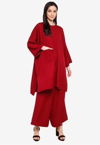 Butik Sireh Pinang red Mawar Blouse Loose Pocket Suit 00545AA70FDF32GS_1