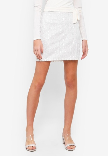 Miss Selfridge white Winter White Sequin Mini Skirt 88A5FAA93208B5GS_1