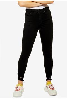 0b53e33359e TOPSHOP black Petite Black Rip Hem Jamie Jeans 0006BAAA575E14GS_1