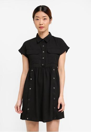 Something Borrowed black Safari Babydoll Dress F9D8BAAEF28E6BGS_1