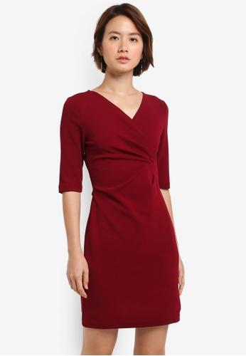 ZALORA red Draped Sheath Dress 136EDAA1A1BA5FGS_1