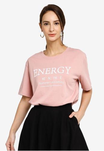 Hopeshow pink Slogan Round Neck Short Sleeve T-Shirt 532F9AA380BA7BGS_1