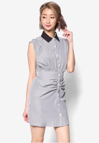 束腰條紋撞色小方領連zalora 台灣身裙, 服飾, 洋裝