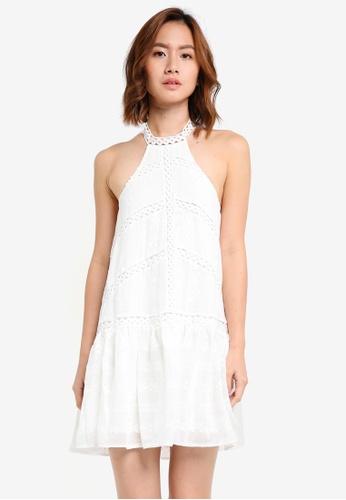 INDIKAH white Back Tie Drop Waist Lace Dress B70AAAA9372917GS_1
