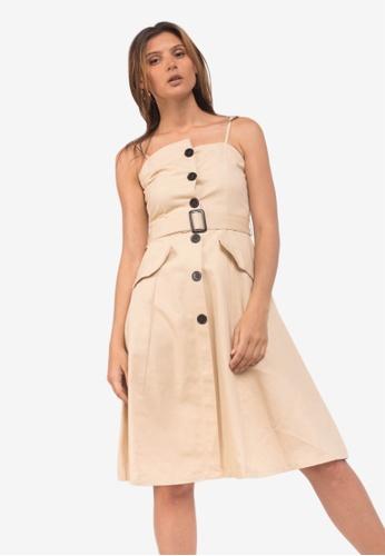 Caoros beige Belted Button Dress C32FAAA108F267GS_1