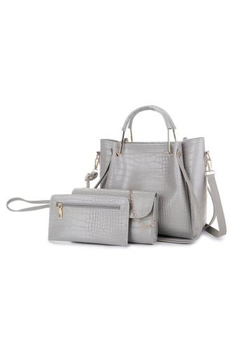 Lara grey Women's Crocodile Skin Embossed Leather Zipper Handbag Shoulder Bag (3-piece Set) - Grey E4C40AC42169C4GS_1