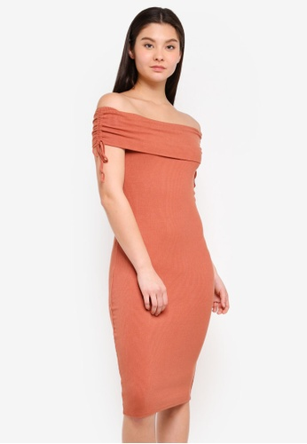 Cotton On brown Elise Off The Shoulder Tie Detail Dress 450D1AAC70B64AGS_1