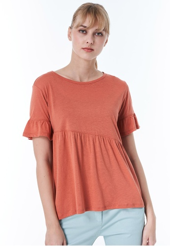 Sisley pink T-shirt with Frills 01604AAA766648GS_1