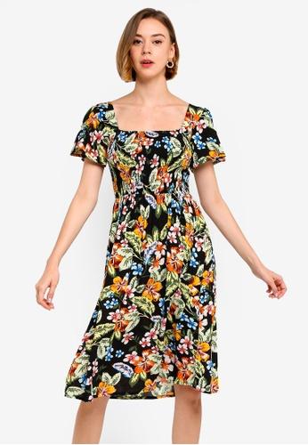 54113c4c87b Dorothy Perkins multi Petite Black Tropical Crinkle Dress 1D605AAAA5FB5CGS_1