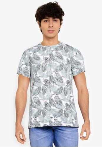 BLEND blue and multi Feather Print Crew Neck T-Shirt A63ECAA1386E6BGS_1