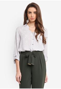 Dorothy Perkins silver Floral Roll Sleeve Shirt 3445BAA2F79C05GS_1
