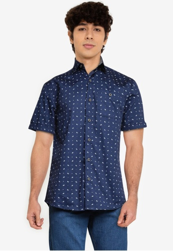Fidelio navy Microprinted Short Sleeves Shirt B07DAAA71A6CEBGS_1